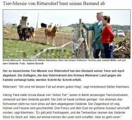 """TLZ   15. August 2013   """"Tier-Messie von Rittersdorf baut seinen Bestand ab"""""""