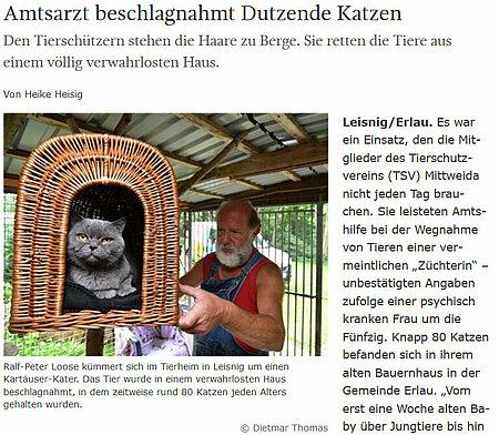 """Sächsische Zeitung   11. August 2017   """"Amtsarzt beschlagnahmt Dutzende Katzen"""""""