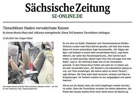 """Sächsische Zeitung   12. März 2014   """"Tierschützer finden verwahrloste Katzen"""""""