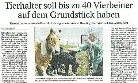 """Thüringer Allgemeine   19. April 2013   """"Tierhalter soll bis zu 40 Tiere auf dem Grundstück haben"""""""