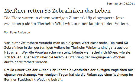 "SZ   24. April 2011   ""Meißner retten 24 Zebrafinken das Leben"""